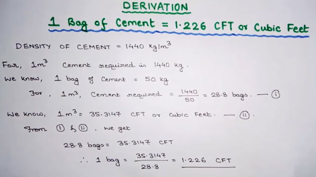 How to obtain the quantity of 1.226 cft in 1 bag cement