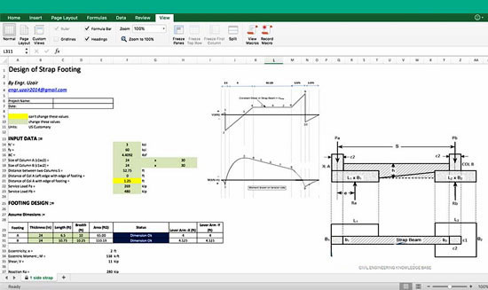Download the spreadsheet for designing the concrete strip footing