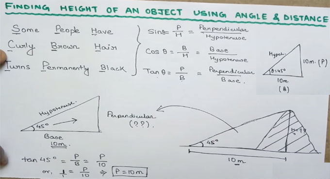 How to calculate the height of an object on the basis of given angle & distance
