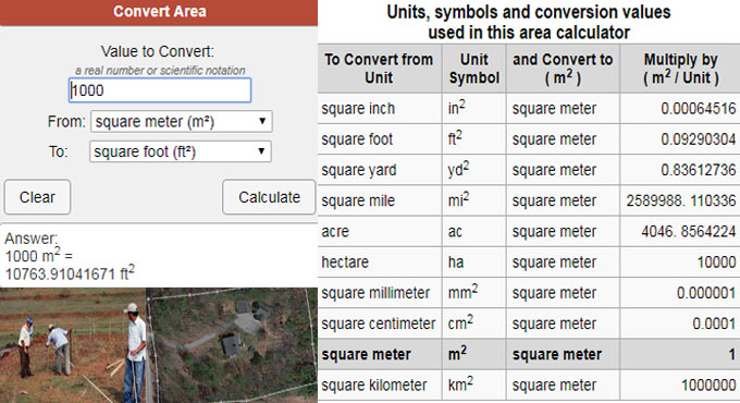 How does area conversion calculator work