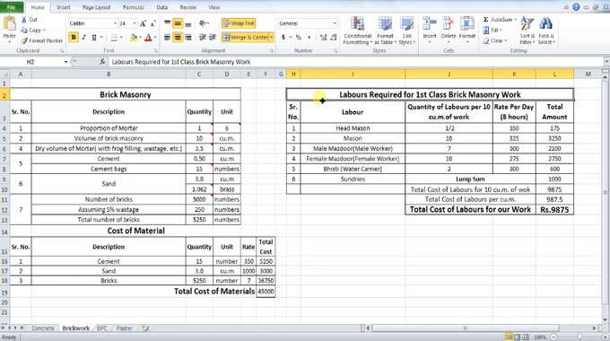 How to use excel to calculate required labor for brick for Brick house construction cost