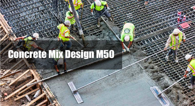 Specification of M50 concrete mix design