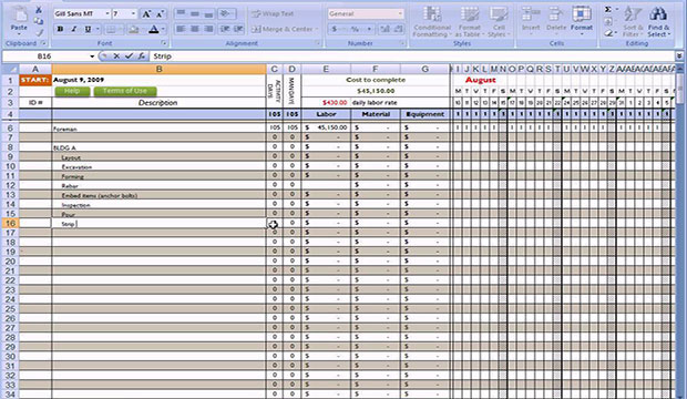 Free excel construction templates free construction for Concrete estimate template