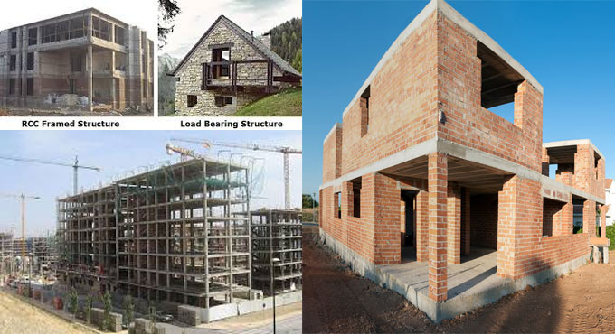 Variations among Load bearing and framed structures
