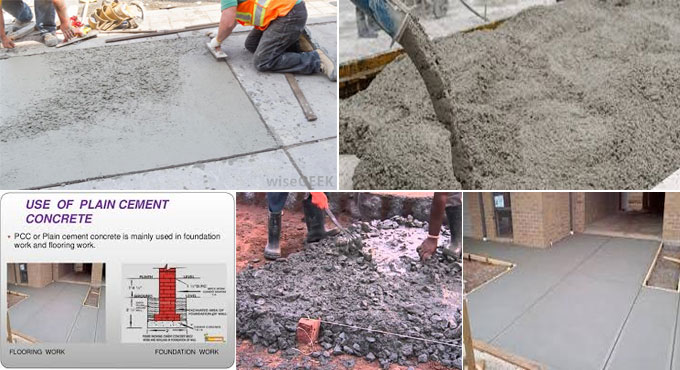 Plain cement concrete – Uses and formation method