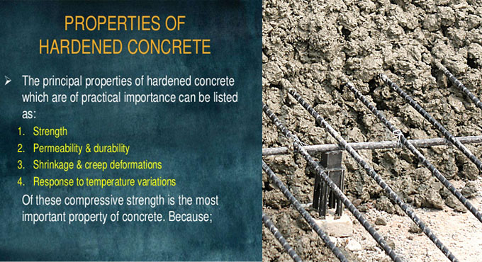 Some vital characteristics of concrete in fresh and hardened state