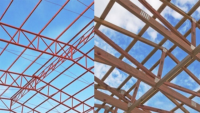 Steel roof truss timber truss truss comparison for Cost for roof trusses