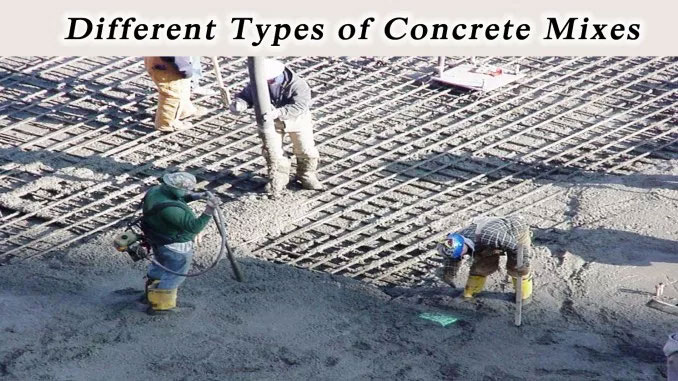 Different types of concrete mixes