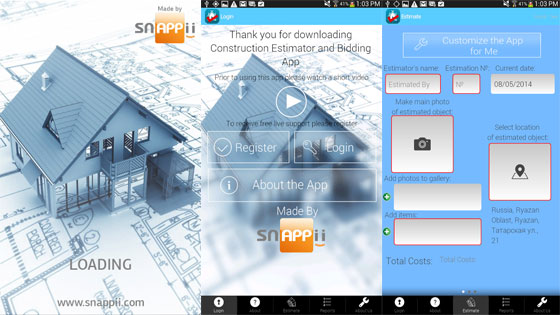 Construction Estimator and Bidding mobile app