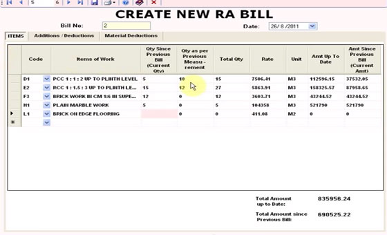 A Software for running account billing of Civil Engineering item rate contracts