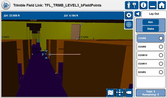 Deal with the layout tasks of a building construction with Trimble Field Link 2.20