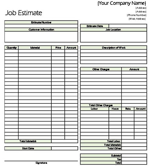Excel Templates For Construction Estimating. Classic Job Estimate Sheet For  Contractors .  Excel Job Sheet Template