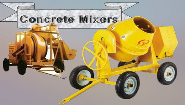 Various types of concrete mixers