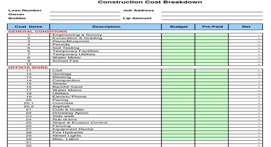 Construction cost breakdown sheet for New home construction cost spreadsheet