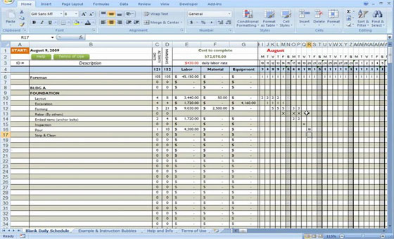 Construction forms for excel construction sheets Material list for building a house spreadsheet