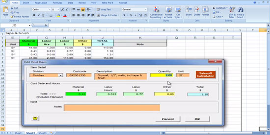 Construction Estimator - using the Constructions MasterFormat