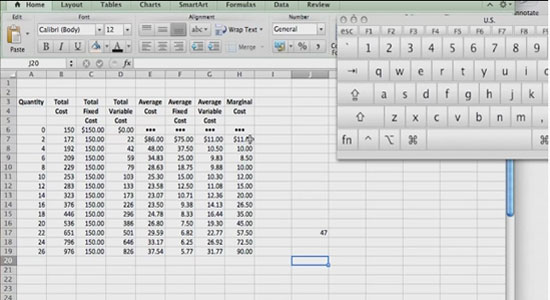 Cost Calculations using an Excel Spreadsheet