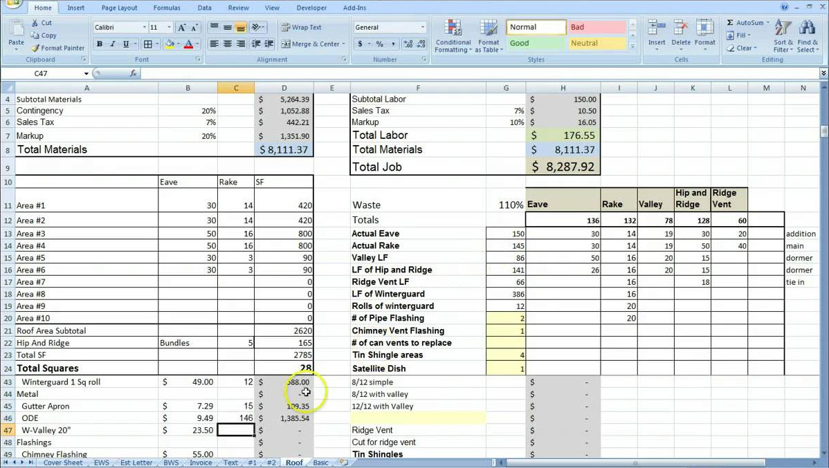Cost Estimating Sheet With Excel For The General Contractor  Excel Job Sheet Template