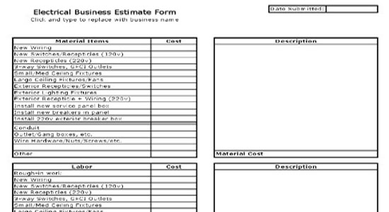 Electrical business estimate sheet for Written estimate template