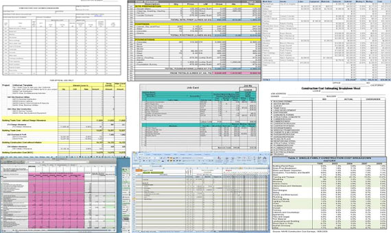 Construction cost estimating sheets quantity takeoff sheet Building cost spreadsheet