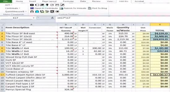 Free estimating software takeoff template concrete spreadsheet for Construction cost estimator free