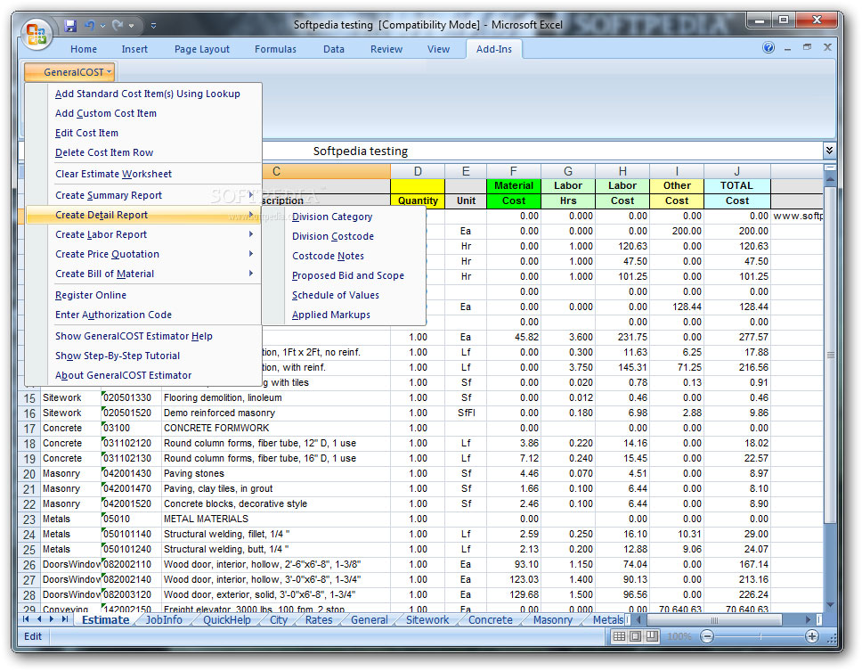 General cost estimator for excel sheet for Building costs estimator