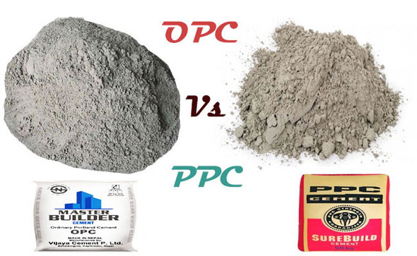 Comparison between OPC and PPC (fly ash based cement)