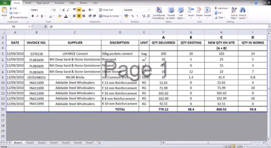 Use of Excel Spread Sheet by a Quantity Surveyor for Material Stock Taking