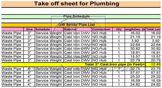Quantity takeoff sheet for plumbing pronofoot35fo Choice Image
