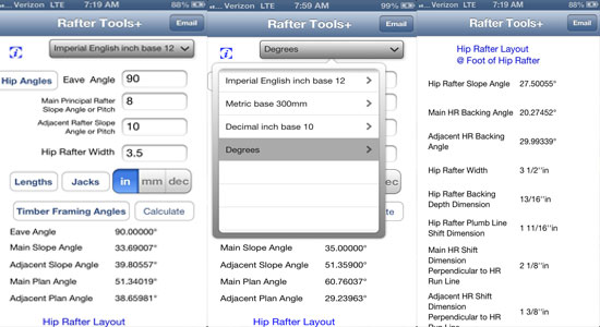 Estimate difficult angles for roof framing with Rafter Tools+ for iPhone