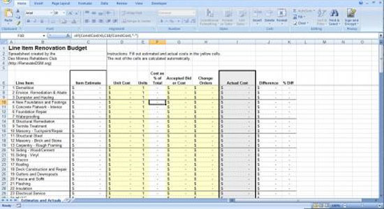 Renovation construction budget spreadsheet Building cost spreadsheet