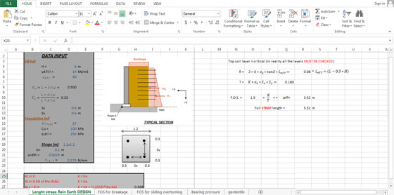 civil engineering sheet wall design spreadsheet retaining
