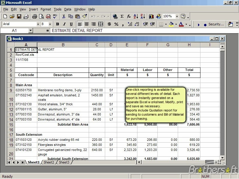Roof Cost Estimator For Excel 2 0 Cost Estimator Sheet