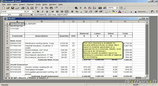 Roof Cost Estimator Sheet for Excel 2.0