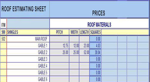 Construction Take-Off Sheets | Roof And Ceiling Take-Off Sheets