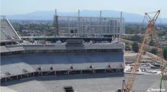 time-lapse construction video on a technologically advanced stadium