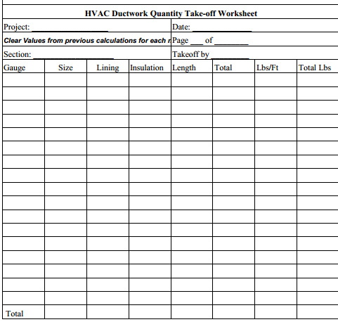 Home » HVAC Estimating sheets » Duckwork sheets