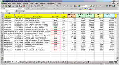 Construction Estimating Sheets Lumber Estimating Sheet