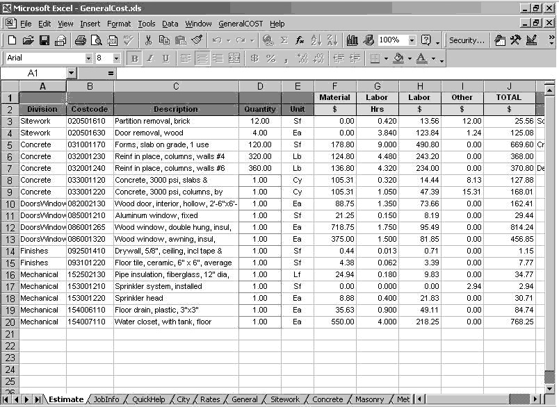 General cost estimating sheet for Plumbing material spreadsheet