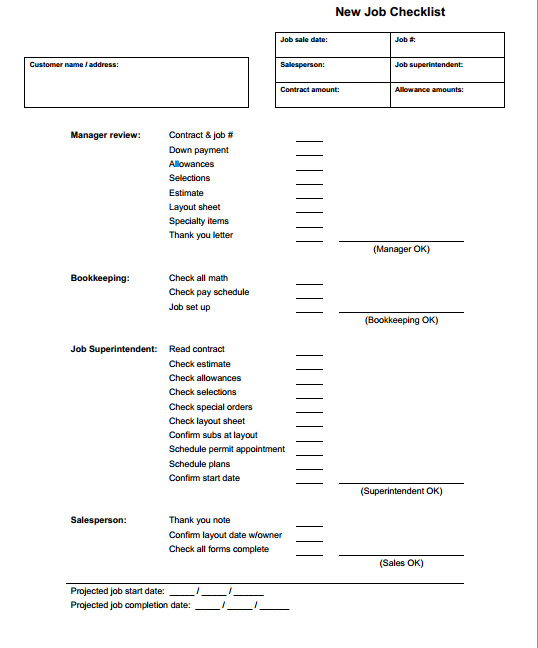 job checklist form