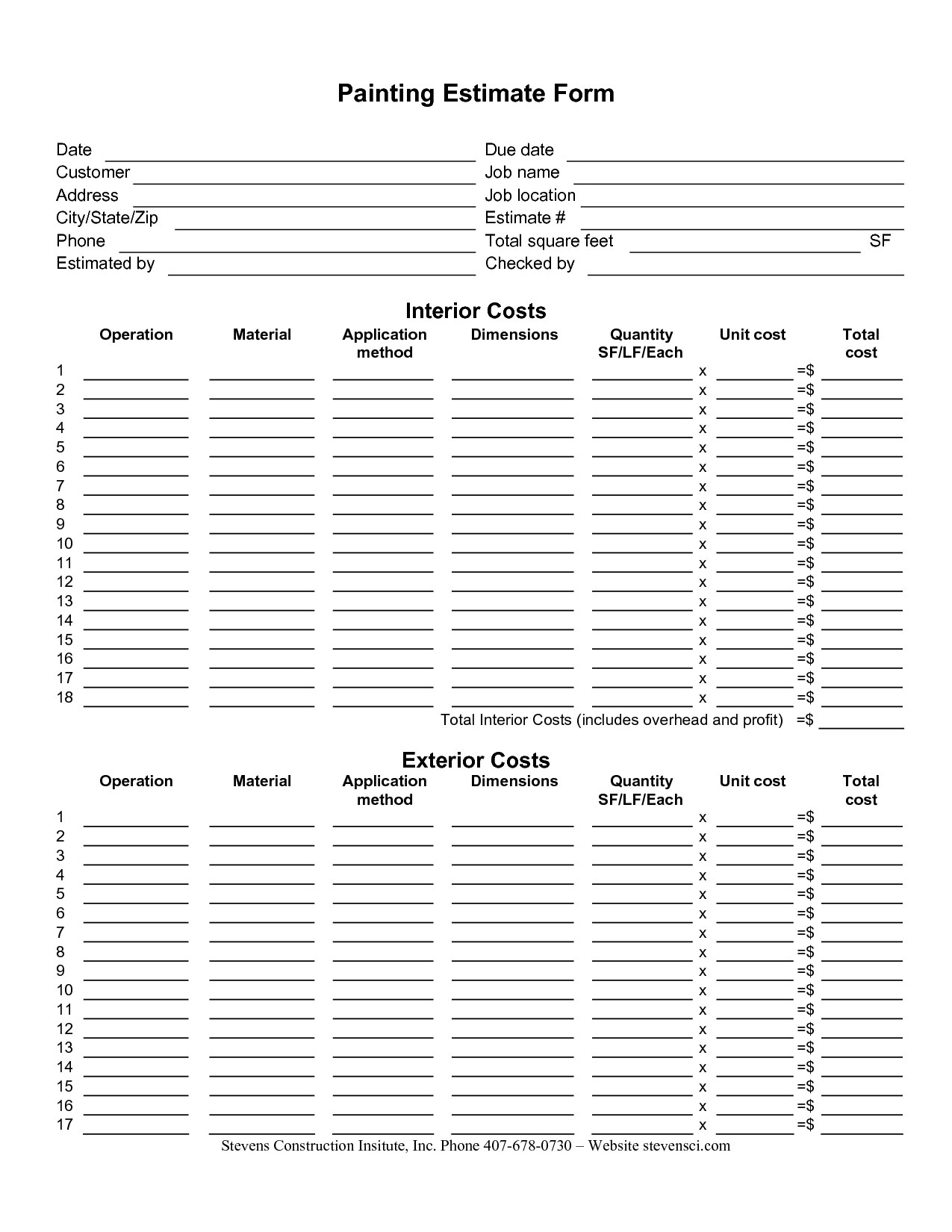 Painting Estimate Form Sample | Painting Estimate Sheet Templates