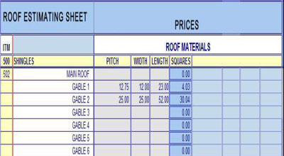 Roof Estimating Sheets