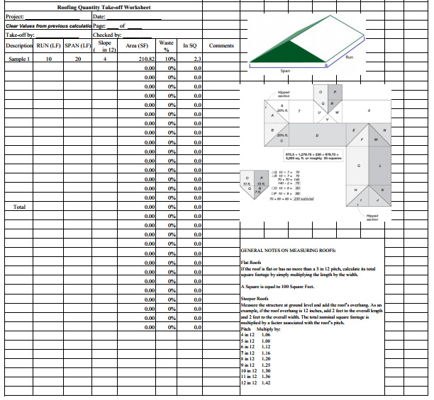 Roofing estimate sheet how to estimate roofing cost Material list for building a house spreadsheet