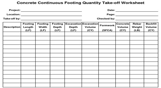 Concrete Continuous Footing Quantity Takeoff Worksheet