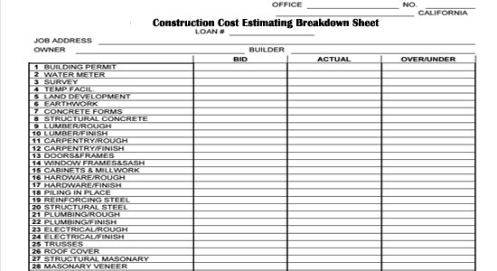 Construction Cost Estimating Breakdown Sheet